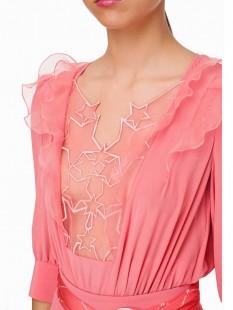 Camisa body con bordado de estrellas