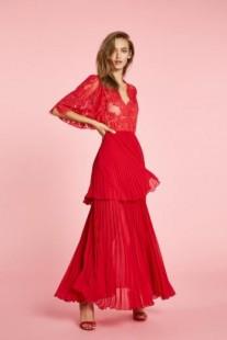 Vestido rojo largo de encaje con abertura ANIYE BY